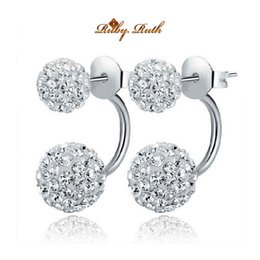 Wholesale Ear Cuffs For Women - Ruby.Ruth 925 silver earrings for women channel cc brincos double stud fashion jewelry sided crystal boucle d'oreille femme earrings