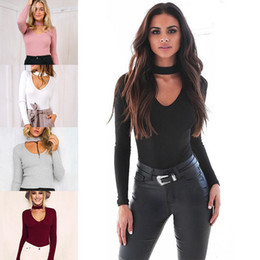 Wholesale Women One Piece Bodysuits - 2016 Autumn New Women's Halter Long Sleeve Sexy Bodysuits Fashion Slim Bodycon Triangle Rompers Women Jumpsuits One-piece Pants