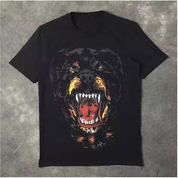 2019 camisetas para perros Venta al por mayor nueva moda Rottweiler impresión del perro de alta calidad del o-cuello negro tee camisetas para hombres mujeres algodón envío gratis camisetas para perros baratos