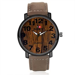 Wholesale Wood Wrist Watches - Fashion Watch High Quality Brand SOXY Simulation Wooden Men Watches Wood Color Leather Strap Watch Antique Wrist watches Clock Men Watches