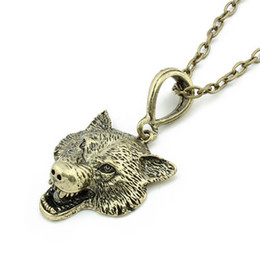 Wholesale Wolf Pendant Necklace Women - Wolf Head Necklace Pendant Animal Power Norse Viking Amulet Necklaces Pendants Men Women Gift Jewelry Antique Silver color Fashion Accessory