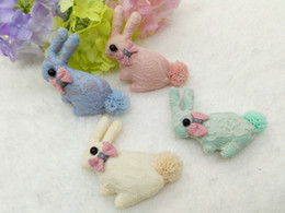 Wholesale Bunny Tails - 50pcs Fashion Cute Fabric Bowknot Hairpins Lace Stuffed Bunny Diy Materials Solid Headwear Kawaii Pom Tail Rabbit Plush Toy Diy Accessories