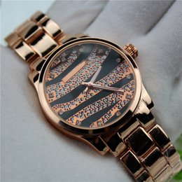 Wholesale Zebra Steel - 2016 Zebra-stripe Set Lmitation Diamond Noctilucent Clock Dial Quartz Steel Strip Women Watch Fashion Luxury Wristwatch factory wholesale