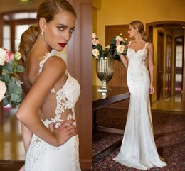 Wholesale Red Hen Picture - 2017 New Nurit Hen Backless Wedding Dresses Mermaid Lace Spaghetti Straps Beaded Floor Length Bridal Gowns Summer Custom Made