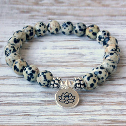 Wholesale Easter Solar - SN1073 New Design Dalmatian Jasper Bracelet Men`s Yoga Wrist Mala Beads Jewelry Solar Plexus Chakra Jewelry Free Shipping