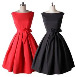 Wholesale Rockabilly Style - Bow Tunic Dresses 1950s 60s Women Vintage Slim Dress With Belt Summer Tunic Audrey Hepburn Style Rockabilly Swing Dresses OOA3237