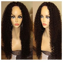 Wholesale Long Brown Human Hair Top - Free Parting 4x4 Silk Top Glueless Full Lace Wigs Kinky Curly Brazilian Full Lace Human Hair Silk Base Wig With Baby Hair