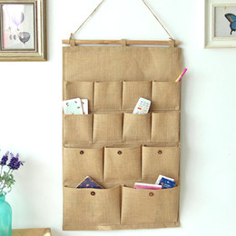 Wholesale High Quality Pocket Doors - Free fast Shipping high quality Storage Bag Wall Sundry Fabric Cotton Pockets Hanging holder Storage Bags