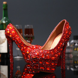 Wholesale Hot High Heels For Prom - Hot Sale Graduation Party Prom Shoes High Heel RED Crystals Rhinestones Bridal wedding shoes Diamond Lady Shoes for Wedding Party