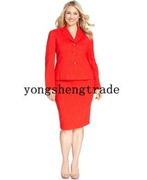 Wholesale Red Skirt Suits - Plus Size Custom Made Red Pleated Skirt Suit Notched Collar Pencil Silhouette Skirt Both Pieces Are Lined HS8030