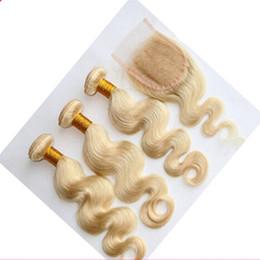 Wholesale Platinum Parts - Malaysian 613 Platinum Blonde Hair Body Wave With Lace Closure Cheap 9A Human Hair Weft 3 Bundles With Free Part Closure 4Pcs Lot
