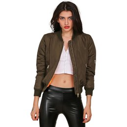 Wholesale Cool Winter Jackets Women - Winter parkas cool basic bomber jacket Women Army Green down jacket coat Padded zipper chaquetas biker outwear