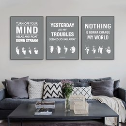 Wholesale Vintage Beatles Poster - Triptych Original Vintage Pop Beatles Music Quote Canvas A4 Art Print Poster Wall Picture Living Room Bar Deco Painting No Frame