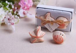 Favores do casamento 200 pcs = 100 caixa de praia Tema Seashell e Starfish Sal Pimenta Shaker Nupcial Do Chuveiro Lembranças Decoração Do Partido Suprimentos de Fornecedores de sabão de banho bebê favores