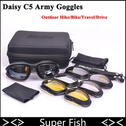 Wholesale Desert C5 - Daisy C5 Polarized Army Goggles Desert Storm 4 Lens Outdoor Sports Hunting Military Sunglasses UV Protective War Game Glasses