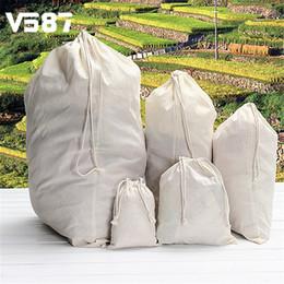 Wholesale Eco Bags Linen - Wholesale- Drawstring Storage Cotton Linen Bag Travel Beam Port Backpack Shoulder Large Capacity Rope Pouches White 5 Sizes