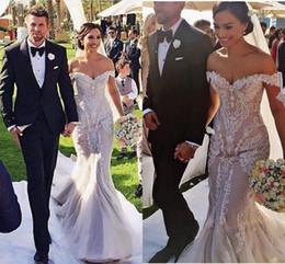 Wholesale Wedding Dres Train - Steven Khalil Amazing Detail Lace Floral Off-shoulder Mermaid Wedding Dresses 2016 Custom Make Plus Size Trumpet Country Bridal Wedding Dres