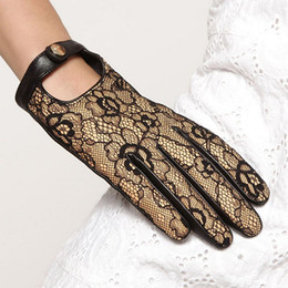 Wholesale Leather Lace Gloves - Hot Sale 2016 Rushed Fashion Leather Gloves Lambskin Lace Style Wrist Real Genuine Sheepskin Glove Women Direct Selling El030nn