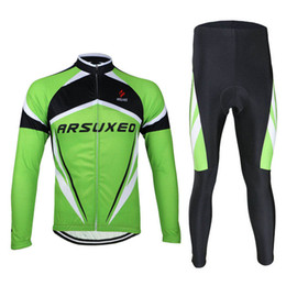 Wholesale Jersey 3d Mountain - ARSUXEO Ciclismo Cycling Jersey Set MTB Cycling Clothing Long sleeves Mountain Bike Compression 3D Gel Paded Pants Bicicletta