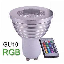 Wholesale Rgb Home Spot - 4W RGB LED Bulb Spotlight GU10 16 Colour Change High Quality LED Lamp Spot Light + 24key IR Remote Control Home Decoration Lamps