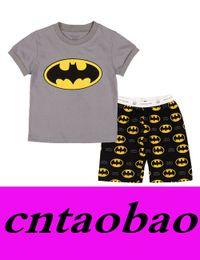 Wholesale Kids Pjs Pajamas - 2016 new baby light grey batman cartoon short sleeve pajamas set girls boys sleepwear 2pcs pjs suit baby's clothing set kid pjs nightwear
