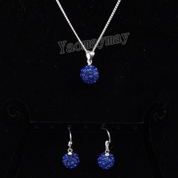 Wholesale Royal Jewellery - Royal Blue Disco Ball Pendant Earrings And Necklace For Girls Rhinestone Shamballa Jewellery Set 10 Sets Wholesale