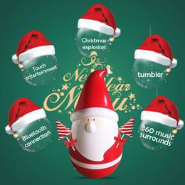 Wholesale Tumbler Battery - Santa Claus Speaker Santa's tumbler Bluetooth speaker Tumbler Touch Music Player Roly-Poly KT08 Bluetooth Speaker