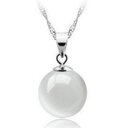 Wholesale white opal pendant 925 - New 925 sterling silver necklace pendant S925 Natural Round Ball white opal pendant + chain Jewelry Free Shipping