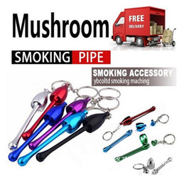 Wholesale Metal Pipe Mushrooms - 1200pcs Smoking Pipes Mini Keychain Mushroom styles Smoking Accessories Ultimate Pipe Mini Aluminum Metal Keychain smoking Pipe Gift AB15