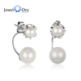 Wholesale Genuine Silver Accessories - JewelOra Exquisite Genuine 925 Sterling Silver Simulated Pearl Stud Earrings Cocktail Party Jewelry Accessories Charm Earrings#EA102014