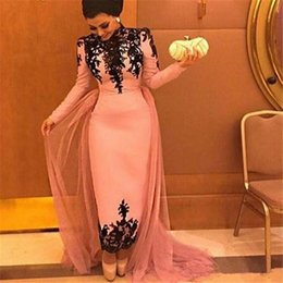 Wholesale Muslim Graduation Dresses - Long Sleeves Muslim Evening Gowns High Collar Black Applique Lace Ankle Length Prom Dresses With Tulle Train