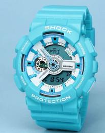 Wholesale Men S Color Watches - sky blue Popular Mens Summer G Sports GA110 Watches LED Waterproof Climbing Digital S Shock Men 100 Watch All Pointer Work Original Box