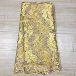 Wholesale Swiss Voile Lace Yellow - Yellow 2017 Nigerian lace fabrics for wedding party 100% cotton african swiss voile lace high quality in switzerland juan23B-B