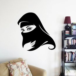 Wholesale Islamic Decorations - Muslim Girl with Cap Islamic wall sticker decals 8498 home decoration Removable Home Mural Decor