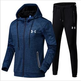 Wholesale Wholesale Long Track Suit - UA Men Sports Suit Under Hoodie Jacket and Pants Set Armor Men's Fintess Running Zip Up Jacket and Pants Track Set Multi Color