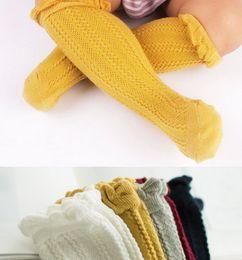 Wholesale Baby Kids Socks - Children socks baby girls ruffle knitting socks kids all match Knee Highs children fashion knee high cotton children Stocking 5 colors A8411