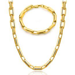 Wholesale Mens Real Gold Bracelets - Mens Necklace & Bracelet 18k Real Gold Plated Basic Gold Chains For Men Cuban Link Style YDHX208