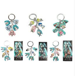 Wholesale Japanese Dolls Keychain Wholesale - Hot!10Set Mixed Classic Cartoon Hatsune Miku Figure pendants doll color metal keychain Japanese anime key ring Free shipping