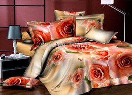 Wholesale Sexy King Comforter Sets - sexy orange flower print girls wedding comforters economic bedclothes full queen bedding set quilt cover flat sheet pillow sham
