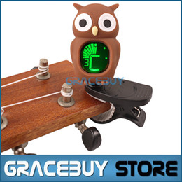 guitar clips 2018 - Wholesale- Universal Clip-On LCD Digital Chromatic Electronic Tuner Tuner For Guitar  Ukulele  Violin  Bass Carton Owl Style