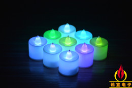 Wholesale Colored Led Tealight Candles - 3.5*4.5cm Battery operated Flicker Flameless LED Tealight Tea Candles Light Wedding Birthday Party Christmas Decoration ZD068