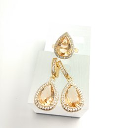 Wholesale Peridot 925 Ring - Water Drop New champagne jewelry 925 Silver Jewelry Sets Fashion For Women Drop Earrings Rings Free Gift Box