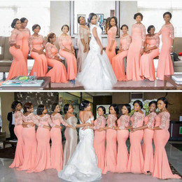 Wholesale Chocolate Chiffon Bridemaid Dress - Elegant Coral Long Bridesmaid Dress with Sleeves Plus Size Lace Mermaid Party Dress Beautiful Bridemaid Dresses 2016