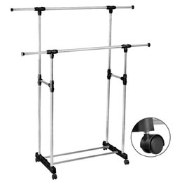 Wholesale Dressing Furniture - Double Furniture Folding Clothes Rail Hanging Garment Dress On Wheels Mesh Shoe Rack Clothes Rack Stand Free Shipping