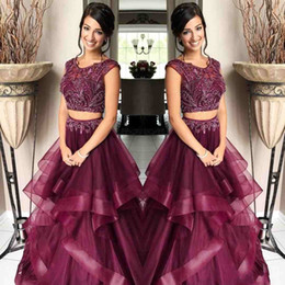 Wholesale Africa Flowers - Burgundy Beading Two Piece Prom Dresses Jewel Cap Sleeve A Line Organza 2 Pieces Evening Party Gown Pageant Celebrity Dress Africa Arabic