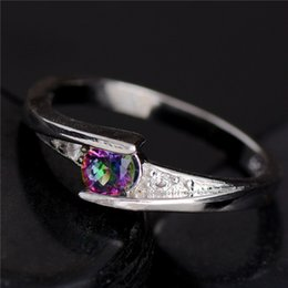 Wholesale Fine Cz Jewelry - Wholesale-Promotion Cheap!!! Hot 1pc 925 Sterling Silver Fine Jewelry Colorful CZ Fabulous For Woman's Ring Size 6-10