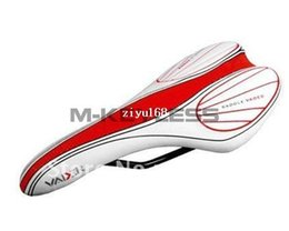 Wholesale Saddles Road Vader - 2013 new VADER Anatomic Relief Narrow Design Cycling White Red Vinyl Leather Bicycle Saddle MTB Road Sports Bike Seat