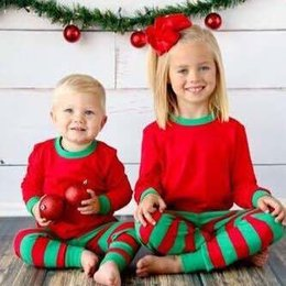Wholesale Sleepwear T Shirts Cotton - Autumn Children Clothes New Baby Red Christmas New Year boys Girls stripe T shirt leggings Pants Sleepwear Suit Outfits Set Lovekiss C29645