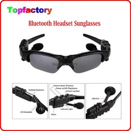 Wholesale Glass Mp3 Colors - Smart Glasses Bluetooth V4.1 Sunglass 4 colors Sun Glass Sports Headset MP3 Player + bluetooth phone Wireless Earphones bluetooth eyeglasses