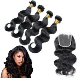 Wholesale High Quality Malaysian Virgin Hair - Malaysian body wave human hair bundle lace closure 5PCS LOT high quality hair extensions 100% Unprocessed Human Virgin Hair Free Shipping